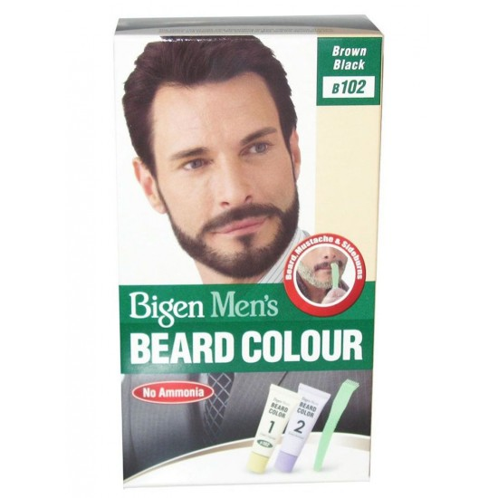 Bigen Mens Beard Colour , B102 Brown Black , No Ammonia