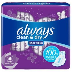 Always Clean And Dry Maxi Thick, Large Sanitary Pads With Wings, 30 Pads