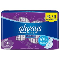Always Maxi Thick, Large, Clean and Dry 50 Pads