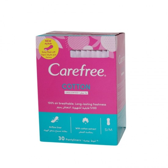 Carefree Cotton Unscented 30 Pantyliners