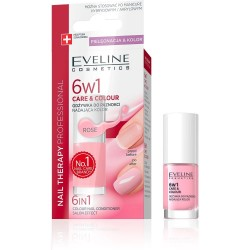 Eveline 6 In 1 Care & Color Nail Conditioner Rose 5 ml