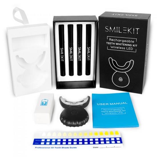 smile kit rechargeable teeth whitening kit wireless LED black