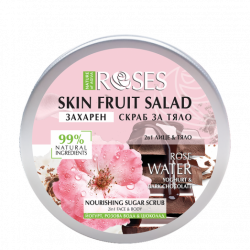 Roses Sugar Scrub 2 in 1 for face and body with yogurt, rose water and chocolate 200 ml