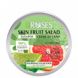 Roses Sugar Scrub 2 in 1 for face and body with grapefruit, lemon and mint 200 ml