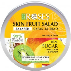 Roses Sugar Scrub 2 in 1 for face and body with mango, kiwi and avocado 200 ml